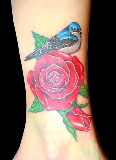 Bluebird on Rose Tattoo Idea
