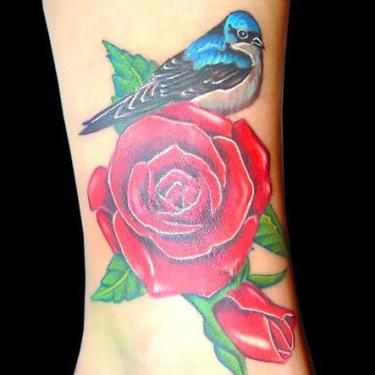 Bluebird on Rose Tattoo