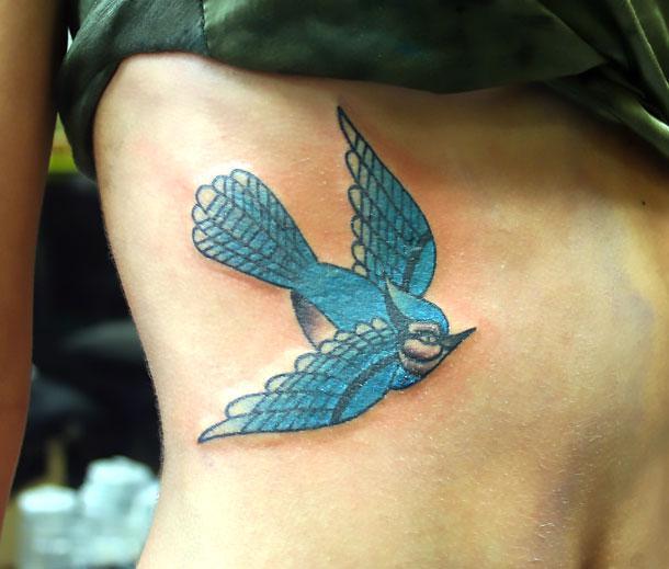 Bluebird Tattoo on Side Tattoo Idea