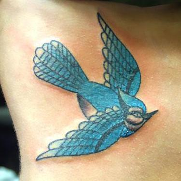 Bluebird Tattoo on Side Tattoo