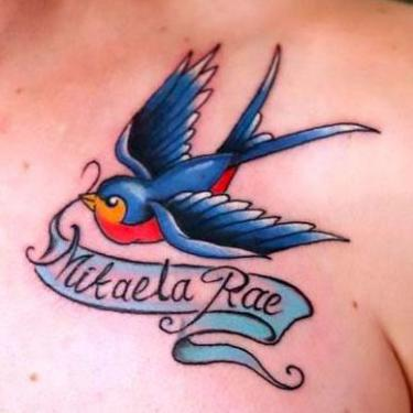 Bluebird With Name Tattoo