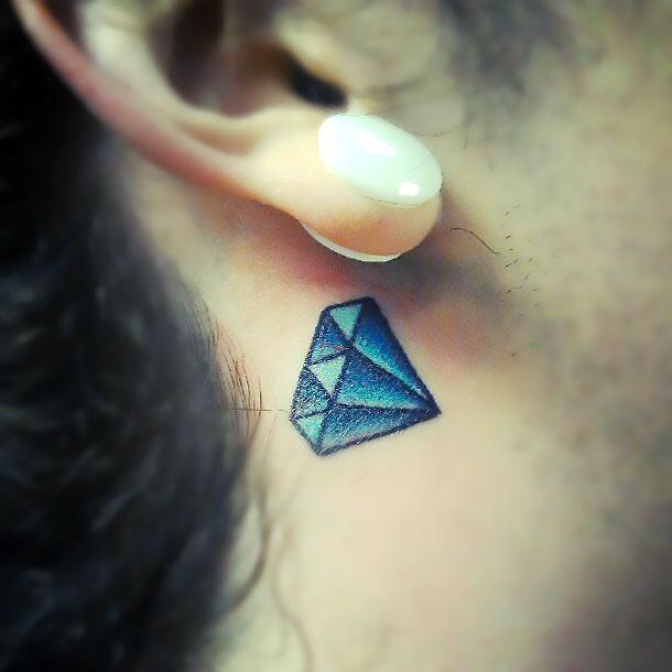Blue Diamond Behind Ear Tattoo Idea