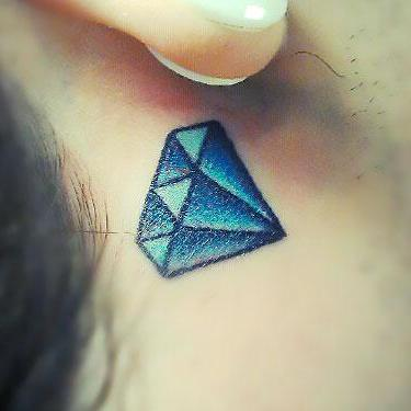 Blue Diamond Behind Ear Tattoo