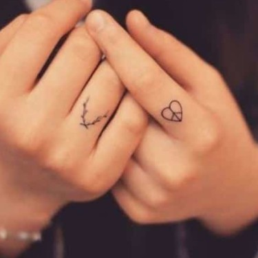 Twigs & Heart On Fingers Tattoo