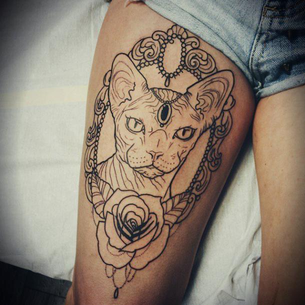 Sphynx Cat Portrait Tattoo Idea