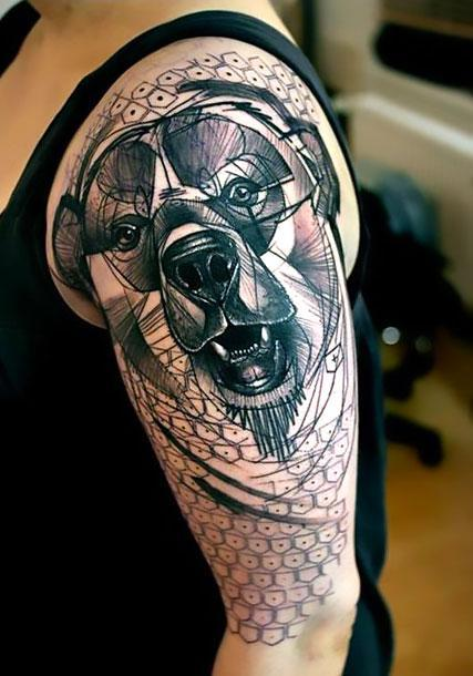 Big Bear Head Tattoo Idea