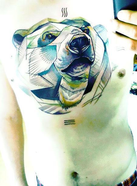 Big Bear on The Chest Tattoo Idea