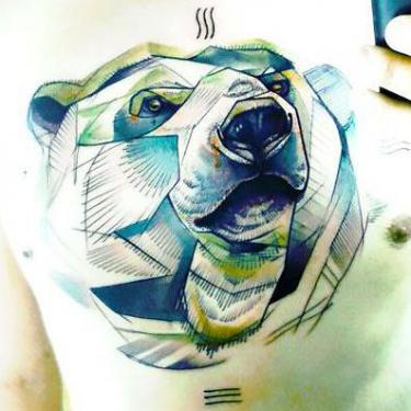 Big Bear on The Chest Tattoo