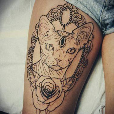 Sphynx Cat Portrait Tattoo