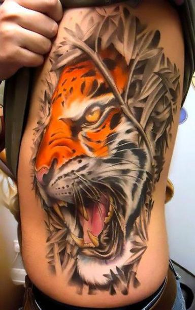 Big Cool Tiger on Side Tattoo Idea