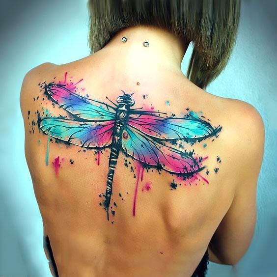 Big Watercolor Dragonfly Tattoo Idea