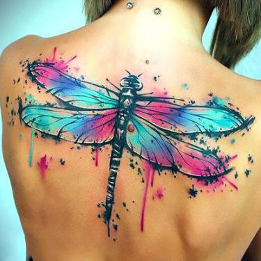 Big Watercolor Dragonfly Tattoo