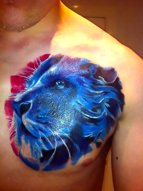 Blue Lion Tattoo Idea