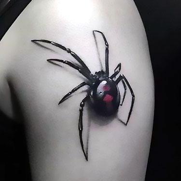 Black 3d Spider Tattoo