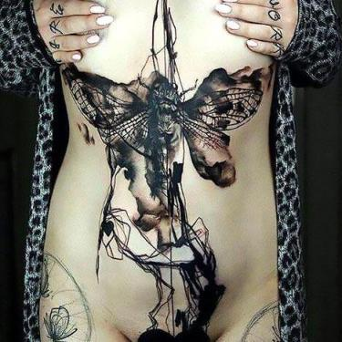 Black Amazing Moth Tattoo