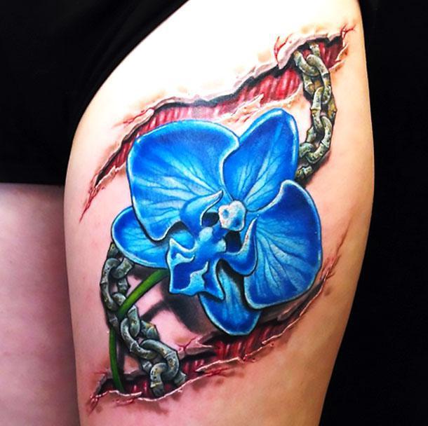 Blue Orchid Tattoo Idea