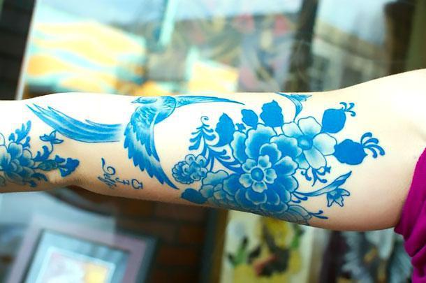 Blue Sleeve Tattoo Idea