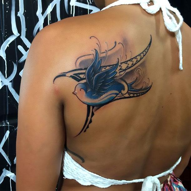 Blue Swallow Tattoo Idea