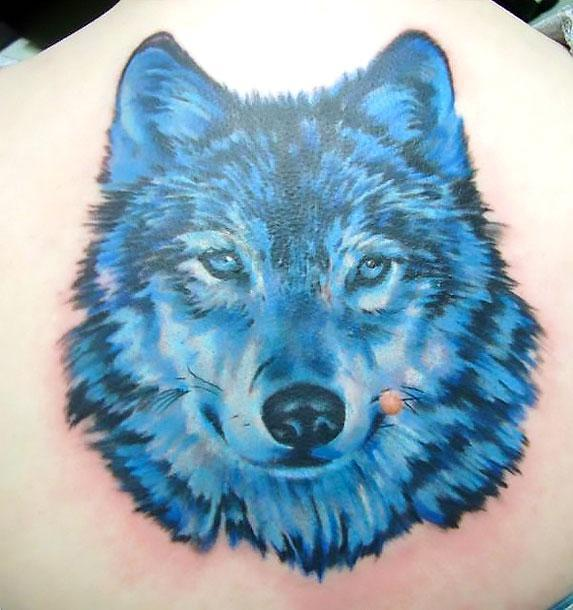 Blue Wolf Tattoo Idea