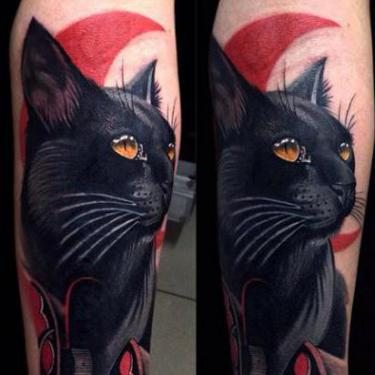 Black Cat Cover Up Tattoo
