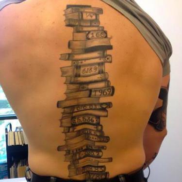 Books on Spine Tattoo