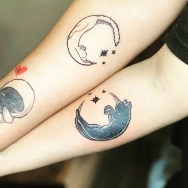 Couple Moon Tattoo
