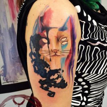 Surreal Cat Tattoo