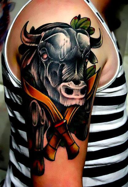Black Bull Head Tattoo Idea