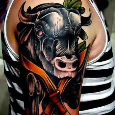 Black Bull Head Tattoo