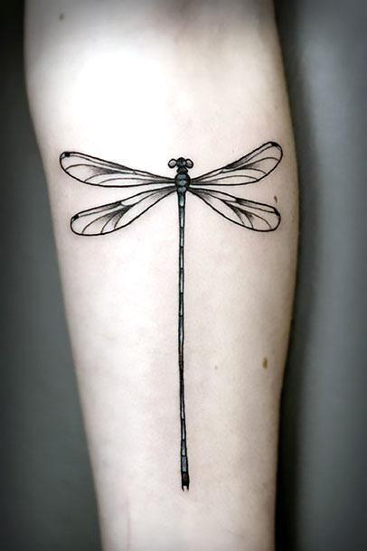 Black Dragonfly Tattoo Idea