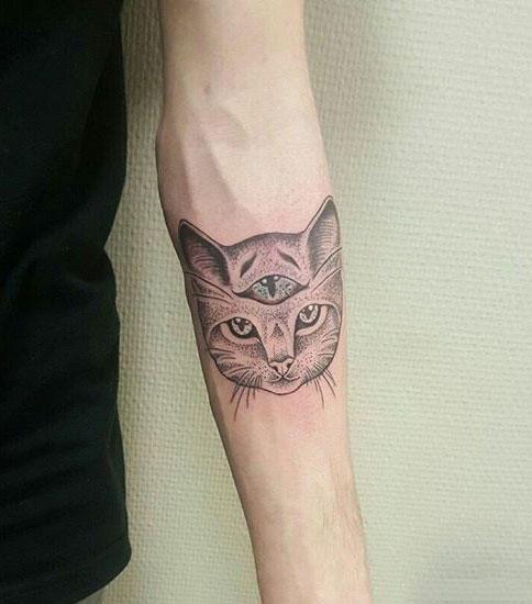 Three-Eyed Cat Tattoo Idea