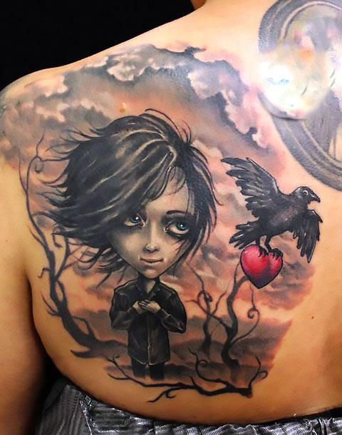 Boy and Raven Tattoo Idea
