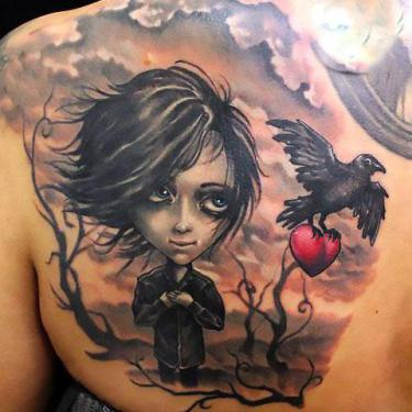Boy and Raven Tattoo