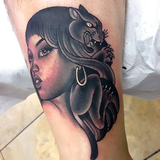 Black Panther Head in Hairs Tattoo Idea