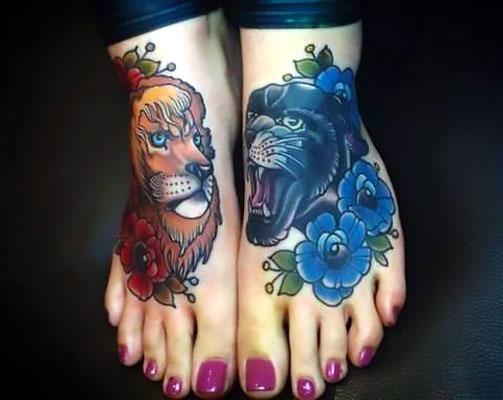 Panther Roaring Head with Flowers And Lion Tattoo Idea