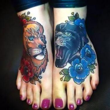 Panther Roaring Head with Flowers And Lion Tattoo