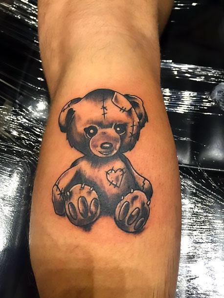 Black-White Teddy Bear Tattoo Idea