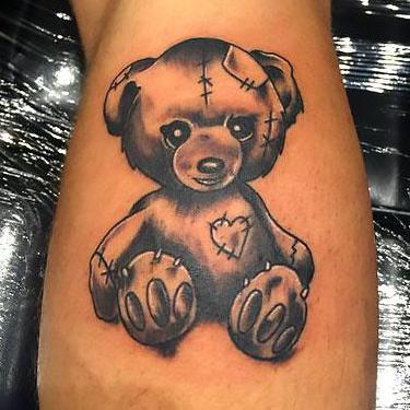 Black-White Teddy Bear Tattoo