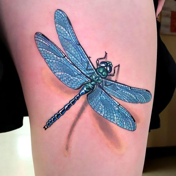 Blue 3D Dragonfly Tattoo Idea