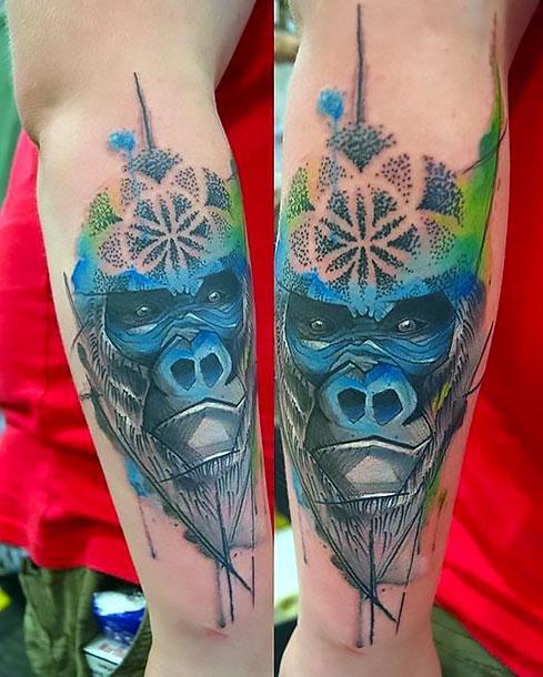 Blue Gorilla Tattoo Idea