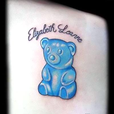 Blue Gummy Bear Tattoo Idea