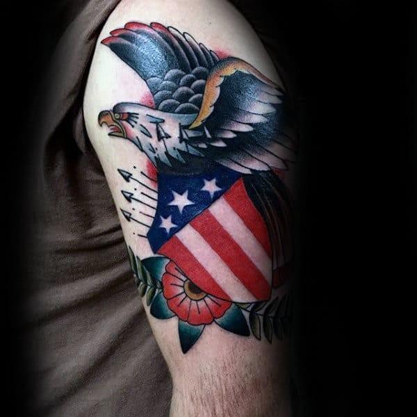American Shield Traditional Eagle Tattoo Idea
