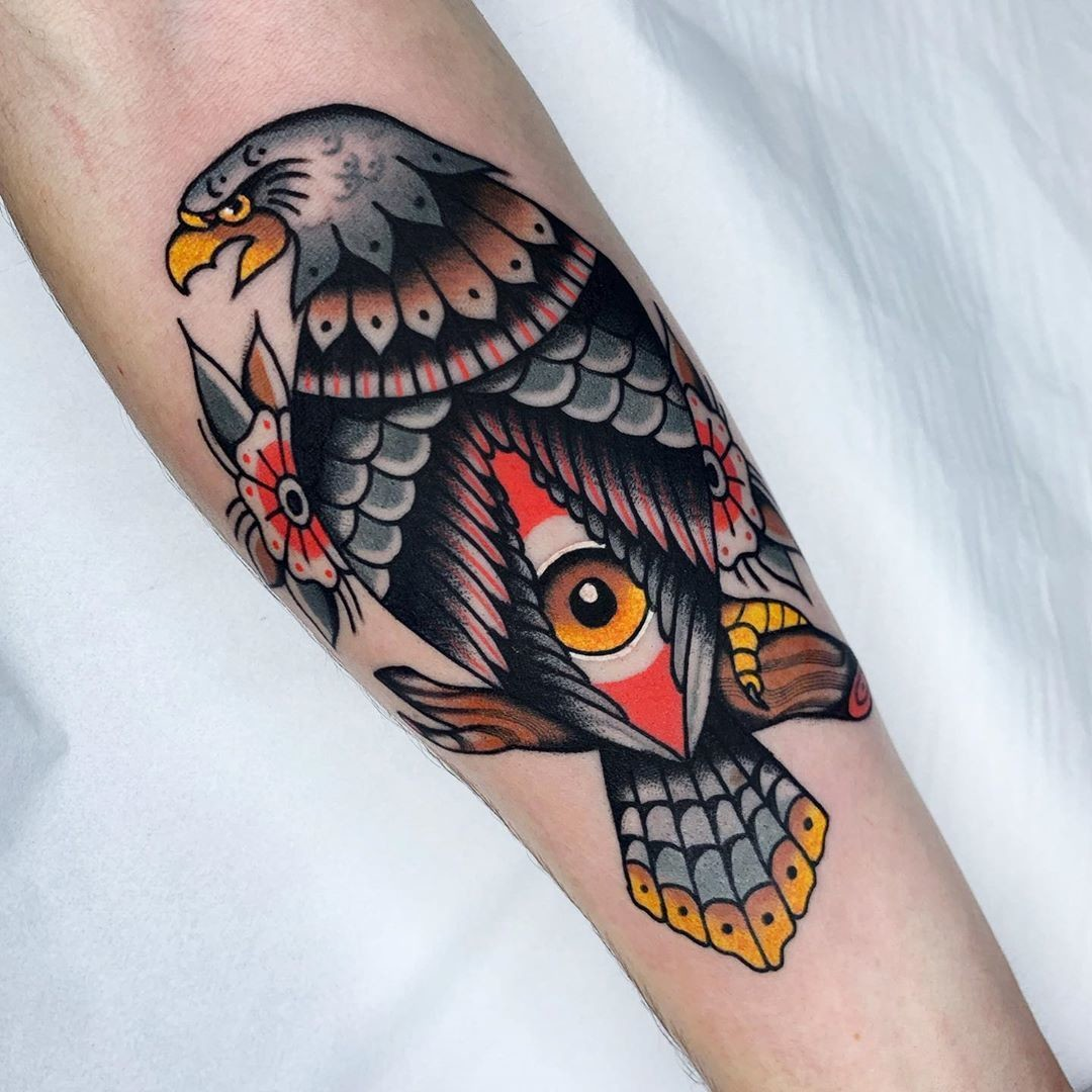 Eagle Forearm Colorful Ink Tattoo Idea