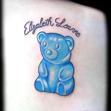 Blue Gummy Bear Tattoo