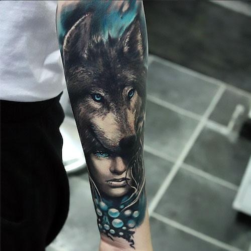 Blue Realistic Wolf and Girl Tattoo Idea