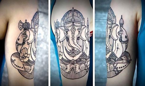 Cool Buddha Elephant Tattoo Idea