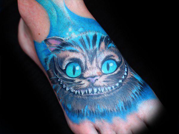 Blue Cheshire Cat Tattoo Idea