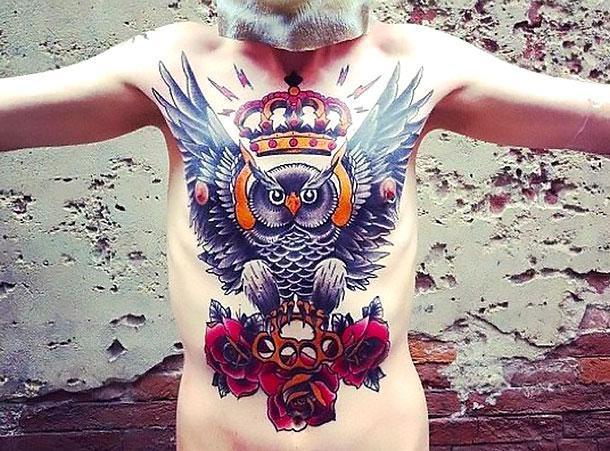 Bright Owl King Tattoo Tattoo Idea
