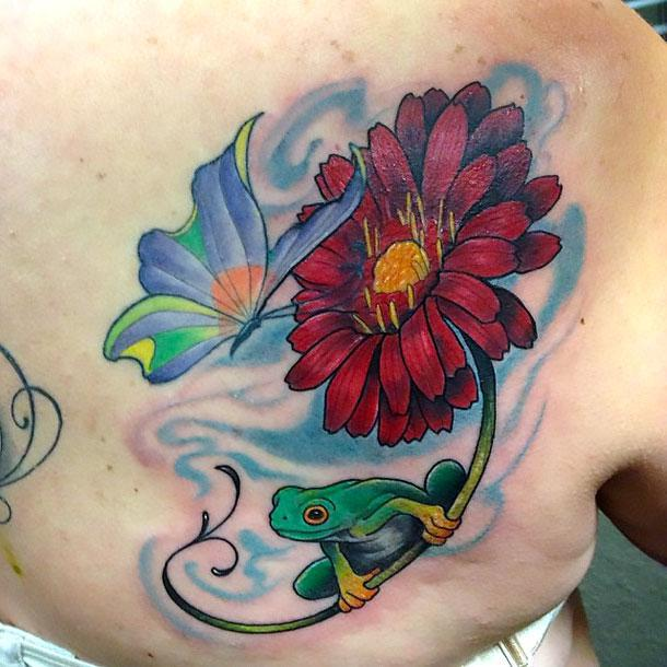 Butterfly Flower and Frog Tattoo Idea