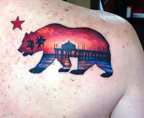 California State Bear Beach Sunset Tattoo Idea